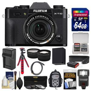 Fujifilm X-T10 Digital Camera & 18-55mm XF Lens (Black) with 64GB Card + Backpack + Flash + Battery & Charger + Tripod + Tele\/Wide Lens Kit