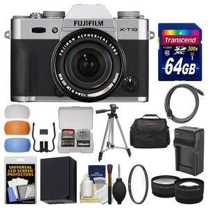 Fujifilm X-T10 Digital Camera & 18-55mm XF Lens (Silver) with 64GB Card + Case + Battery & Charger + Tripod + Tele\/Wide Lens Kit