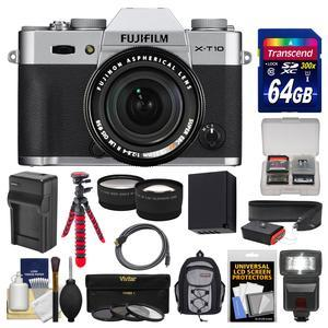 Fujifilm X-T10 Digital Camera & 18-55mm XF Lens (Silver) with 64GB Card + Backpack + Flash + Battery & Charger + Tripod + Tele\/Wide Lens Kit