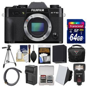Fujifilm X-T10 Digital Camera Body (Black) with 64GB Card + Case + Flash + Diffuser + Battery & Charger + Tripod + Kit