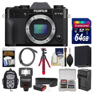 Fujifilm X-T10 Digital Camera Body-Black-with 64GB Card and Case and Flash and Battery and Charger and Flex Tripod and Strap and Kit