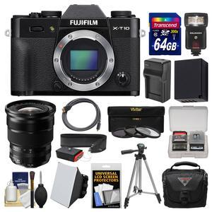 Fujifilm X-T10 Digital Camera Body-Black-with 10-24mm f-4 Lens and 64GB Card and Case and Flash and Soft Box and Battery-Charger and Tripod Kit
