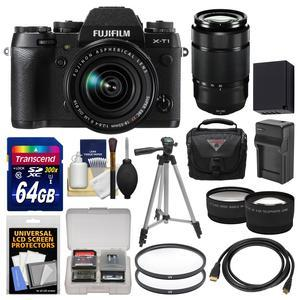 Fujifilm X-T1 Weather Resistant Digital Camera and 18-55mm XF Lens with 50-230mm OIS II Lens and 64GB Card and Case and Battery-Charger and Tripod and Filters and Kit