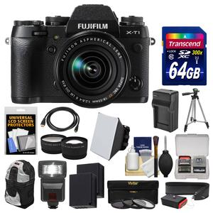 Fujifilm X-T1 Weather Resistant Digital Camera and 18-55mm XF Lens with 64GB Card and Backpack and Flash and Batteries and Charger and Tripod and Tele-Wide Lens Kit