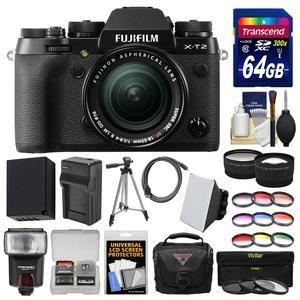 Fujifilm X-T2 4K Wi-Fi Digital Camera and 18-55mm XF Lens with 64GB Card + Case + Flash + Battery and Charger + Tripod + Tele-Wide Lens Kit
