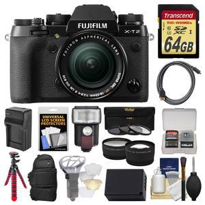 Fujifilm X-T2 4K Wi-Fi Digital Camera and 18-55mm XF Lens with 64GB Card + Case + Flash + Battery and Charger + Flex Tripod + Tele-Wide Lens Kit