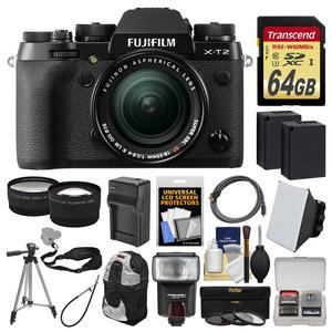 Fujifilm X-T2 4K Wi-Fi Digital Camera and 18-55mm XF Lens with 64GB Card + Case + Flash + 2 Batteries and Charger + Tripod +Tele-Wide Lens Kit