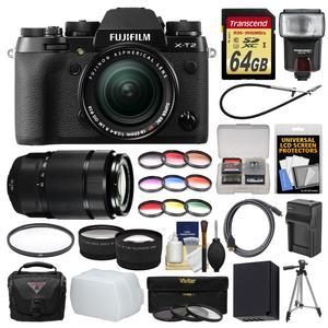 Fujifilm X-T2 4K Wi-Fi Digital Camera and 18-55mm XF Lens with 50-230mm II Lens + 64GB Card + Case + Flash + Battery and Charger + Tripod + Kit