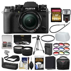 Fujifilm X-T2 4K Wi-Fi Digital Camera and 18-55mm XF Lens with VPB-XT2 Grip + 64GB Card + Case + Flash + Battery and Charger + Tripod + 2 Lens Kit