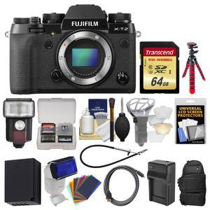 Fujifilm X-T2 4K Wi-Fi Digital Camera Body with 64GB Card + Case + Flash + Battery and Charger + Flex Tripod + Kit