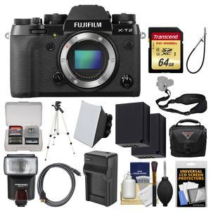 Fujifilm X-T2 4K Wi-Fi Digital Camera Body with 64GB Card + Case + Flash + Batteries and Charger + Tripod + Kit