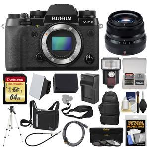 Fujifilm X-T2 4K Wi-Fi Digital Camera Body with 35mm f-2.0 XF R WR Lens + 64GB Card + Case + Flash + Battery and Charger + Tripod + Kit