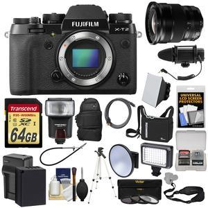 Fujifilm X-T2 4K Wi-Fi Digital Camera Body with 10-24mm f-4.0 Lens + 64GB Card + Backpack + Flash + Video Light + Battery + Kit