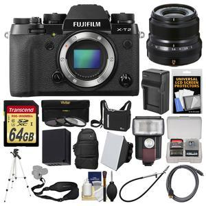 Fujifilm X-T2 4K Wi-Fi Digital Camera Body with 23mm f-2.0 Lens + 64GB Card + Case + Backpack + Flash + Diffuser + Battery + Kit