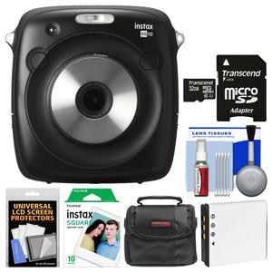 Fujifilm Instax Square SQ10 Hybrid Instant Film and Digital Camera with 32GB Card + 10 Color Prints + Case + Battery + Cleaning Kit