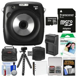 Fujifilm Instax Square SQ10 Hybrid Instant Film and Digital Camera with 32GB Card + 10 Color Prints + Case + Battery and Charger + Tripod + Cleaning Kit