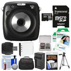 Fujifilm Instax Square SQ10 Hybrid Instant Film and Digital Camera with 32GB Card + 20 Color Prints + Case + Battery and Charger + Tripod + Cleaning Kit