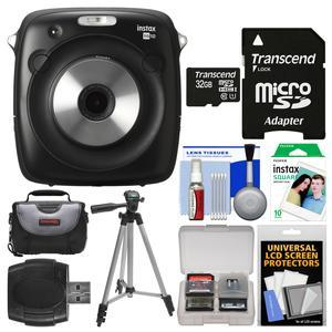 Fujifilm Instax Square SQ10 Hybrid Instant Film and Digital Camera with 32GB Card + 10 Color Prints + Case + Tripod + Kit