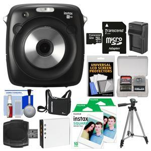 Fujifilm Instax Square SQ10 Hybrid Instant Film and Digital Camera with 32GB Card + 20 Color Prints + Case + Battery and Charger + Tripod + Kit