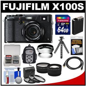 Fujifilm X100S Digital Camera (Black/Black) with 64GB Card + Backpack + Battery + Tripod + Tele/Wide Lenses Kit