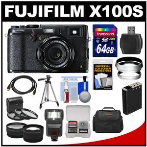 Fujifilm X100S Digital Camera (Black/Black) with 64GB Card + Case + Flash + Battery + Tripod + Tele/Wide Lenses + Kit