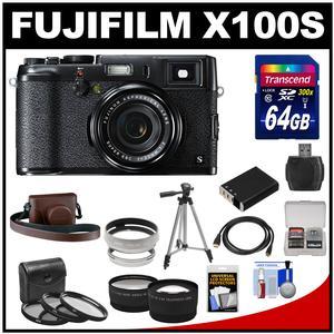 Fujifilm X100S Digital Camera (Black/Black) with 64GB Card + Leather Case + Battery + Tripod + Tele/Wide Lens Kit