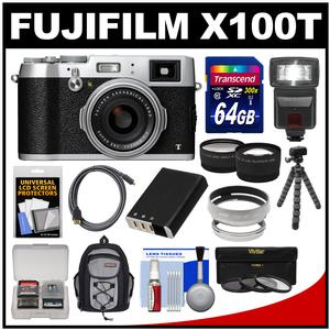 Fujifilm X100T Digital Camera (Silver) with 64GB Card + Backpack + Flash + Battery + Tripod + Tele\/Wide Lenses Kit