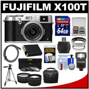 Fujifilm X100T Digital Camera (Silver) with 64GB Card and Case and Flash and Battery and Tripod and Tele/Wide Lenses Kit