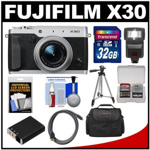 Fujifilm X30 Wi-Fi Digital Camera (Silver) with 32GB Card + Case + Flash + Battery + Tripod + Kit