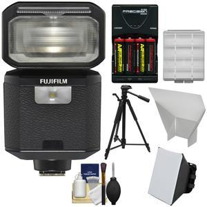 Fujifilm EF-X500 Shoe Mount Flash and LED Video Light with Soft Box + Bounce Reflector + Batteries and Charger + Tripod + Kit