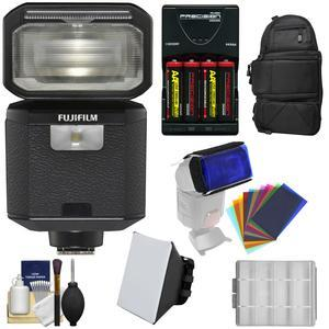 Fujifilm EF-X500 Shoe Mount Flash and LED Video Light with Backpack + Soft Box + 12 Color Gel Filters + Batteries and Charger Kit