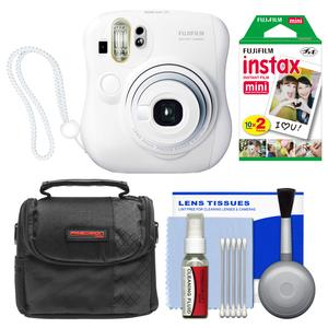 Fujifilm Instax Mini 25 Instant Film Camera-White-with 20 Twin Prints and Case and Kit