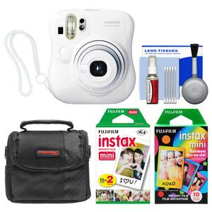 Fujifilm Instax Mini 25 Instant Film Camera-White-with 20 Twin and 10 Rainbow Prints and Case and Kit