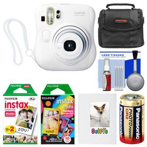 Fujifilm Instax Mini 25 Instant Film Camera-White-with 20 Twin and 10 Rainbow Prints and Album and Case and Battery and Kit