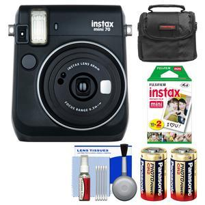 Fujifilm Instax Mini 70 Instant Film Camera-Midnight Black-with 20 Prints and Case and Batteries and Kit