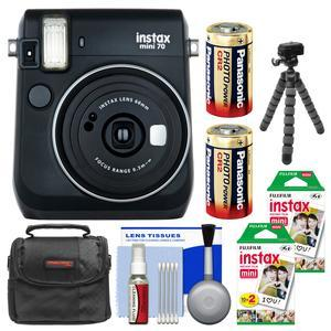 Fujifilm Instax Mini 70 Instant Film Camera-Midnight Black-with 40 Prints and Case and Batteries and Flex Tripod and Kit
