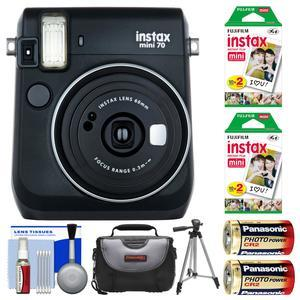 Fujifilm Instax Mini 70 Instant Film Camera-Midnight Black-with 40 Prints and Case and Batteries and Tripod and Kit