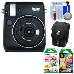 Fujifilm Instax Mini 70 Instant Film Camera-Midnight Black-with 20 Twin and 10 Rainbow Prints and Case and Kit