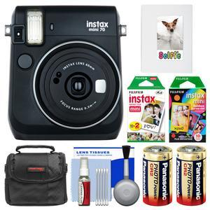 Fujifilm Instax Mini 70 Instant Film Camera-Midnight Black-with 20 Twin and 10 Rainbow Prints and Album and Case and Batteries and Kit