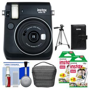 Fujifilm Instax Mini 70 Instant Film Camera-Midnight Black-with 40 Color Twin Prints and Case and Album and Tripod and Cleaning Kit