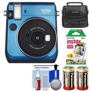 Fujifilm Instax Mini 70 Instant Film Camera - Blue - with 20 Prints + Case + Batteries + Kit
