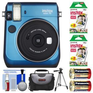 Fujifilm Instax Mini 70 Instant Film Camera - Blue - with 40 Prints + Case + Batteries + Tripod + Kit