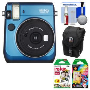Fujifilm Instax Mini 70 Instant Film Camera - Blue - with 20 Twin and 10 Rainbow Prints + Case + Kit