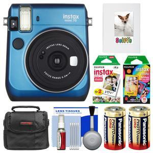 Fujifilm Instax Mini 70 Instant Film Camera - Blue - with 20 Twin and 10 Rainbow Prints + Album + Case + Batteries + Kit