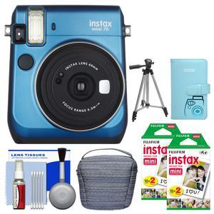 Fujifilm Instax Mini 70 Instant Film Camera - Blue - with 40 Color Twin Prints + Case + Album + Tripod + Cleaning Kit