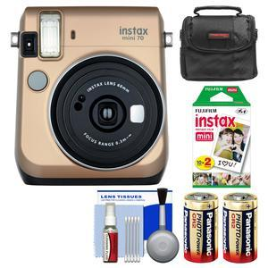 Fujifilm Instax Mini 70 Instant Film Camera-Stardust Gold-with 20 Prints and Case and Batteries and Kit