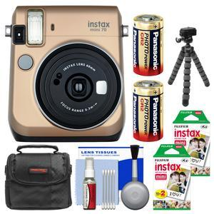 Fujifilm Instax Mini 70 Instant Film Camera-Stardust Gold-with 40 Prints and Case and Batteries and Flex Tripod and Kit