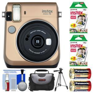 Fujifilm Instax Mini 70 Instant Film Camera-Stardust Gold-with 40 Prints and Case and Batteries and Tripod and Kit