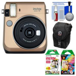 Fujifilm Instax Mini 70 Instant Film Camera-Stardust Gold-with 20 Twin and 10 Rainbow Prints and Case and Kit