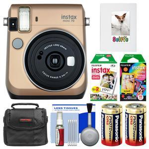 Fujifilm Instax Mini 70 Instant Film Camera-Stardust Gold-with 20 Twin and 10 Rainbow Prints and Album and Case and Batteries and Kit